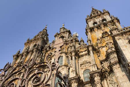 Spain, Galicia, Santiago de Compostela, Cathedral facade, afternoon