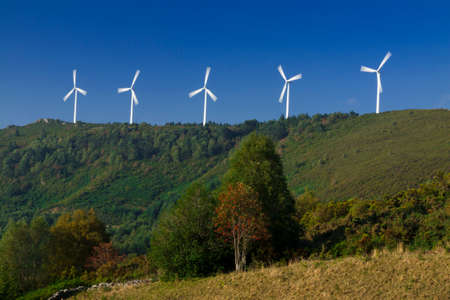Spain, Galicia,  row of wind turbines on a hill, morning light photo