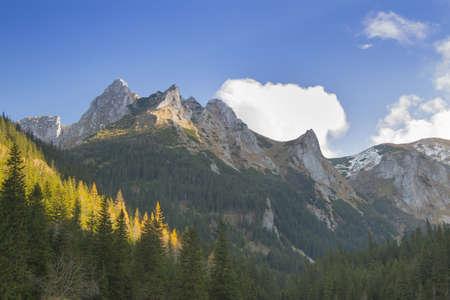 giewont: Sunlit Giewont peak in Tatry Zachodnie (west Tatras), Poland, autumn
