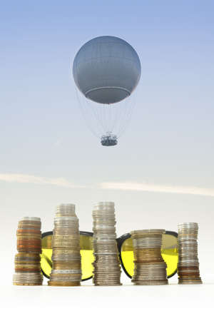billions: Helium balloon seen against the sky at dusk, jest-trail visible in the background, stakes of coins and yellow sunglasses
