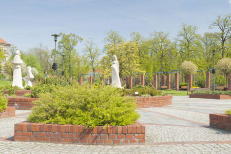 silesia: Poland, Upper Silesia, Gliwice, Doncaster Square public garden in sprintime, trees in bloom