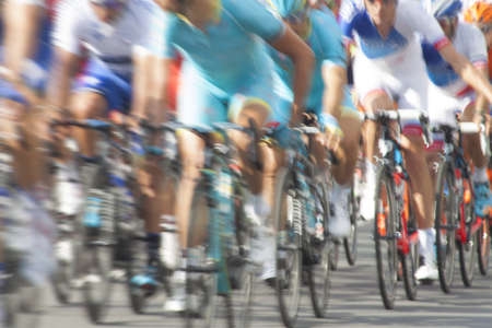 velodrome: Group of cyclist during a race, motion blur Stock Photo