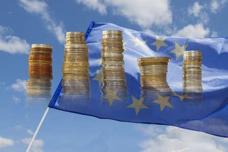 Flag of European Union Flying against the sky, sunlit