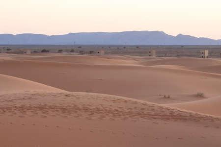 Africa, Morocco, Merzouga, Erg Chebbi Dunes at Dusk, Anti-Atlas Mountains, Clear Sky