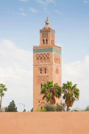 Koutubia Mosque minaret in Marrakech, Morocco, sunlit, blue sky