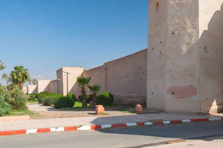 Morocco, Marrakech, Bab el Raha Bab Debagh town gate, Ancient Medina Walls, park, sunlit Banco de Imagens