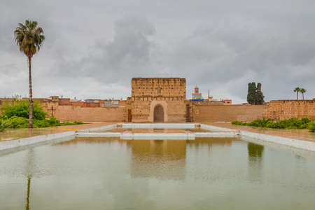 General view of the El Badi Palace at Marrakech, Morocco, overcast sky, rainy weather Editorial
