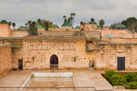 General view of the El Badi Palace at Marrakech, Morocco, overcast sky, rainy weather Banco de Imagens
