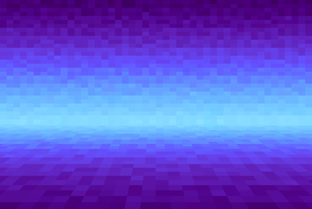 Abstract violet and cyan gradient background. Pixel square blocks. Mosaic pattern. Planes in angle perspective. Empty space with wall and floor, scene