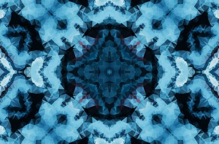 Winter fantasy abstract background. Kaleidoscopic geometric ornament. Decorative polygonal mosaic pattern. Archivio Fotografico - 129264684