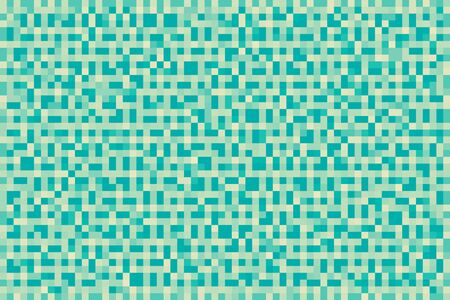 Abstract cyan blue gradient background. Texture with pixel square blocks. Mosaic pattern. Banco de Imagens