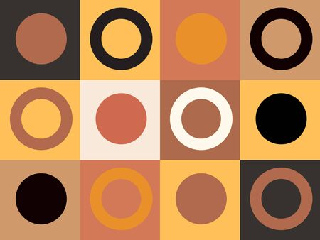 Modern abstract geometric shapes composition in terracotta , black and white tones with squares and circles . Minimalist earth colors design in Scandinavian style.  EPS 10 Иллюстрация