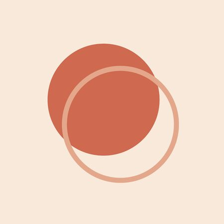 Minimal abstract poster with simple circles . Modern geometric shapes design . Circular elements composition in Scandinavian style for background , fabric print , wallpaper EPS 10.