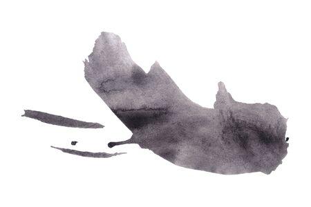 Abstrakter Schwarzweiss-Aquarellhintergrund. Bunte Aquarellfarbenbeschaffenheit. Pinselstrich isoliert auf weiss. Lebendiges Tintenfleckmuster. Farbspritzer