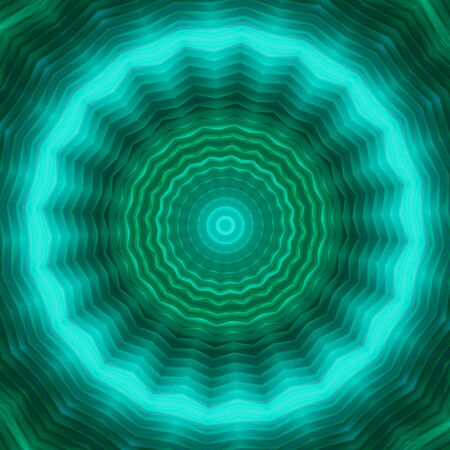 Neon circle background in green tones . Kaleidoscopic pattern. Futuristic mandala.