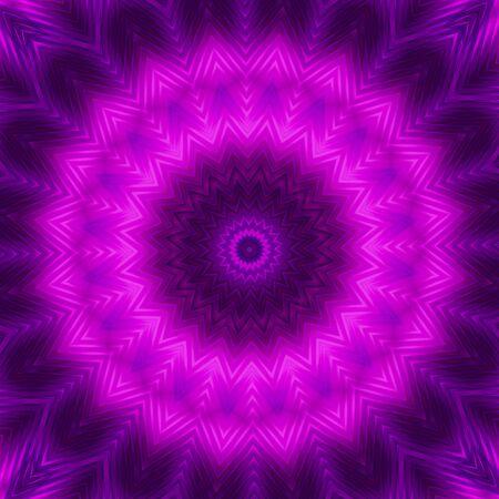 Fondo de círculo de neón en tonos morados. Patrón caleidoscópico. Mandala futurista.