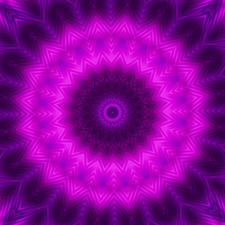 Neon circle background in purple tones . Kaleidoscopic pattern. Futuristic mandala.