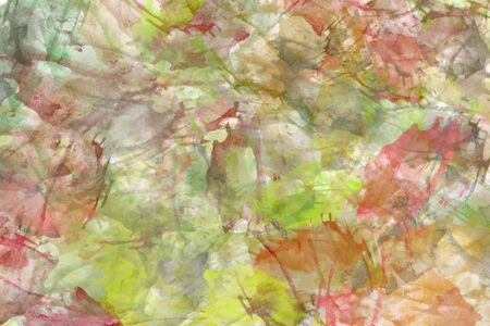 Abstract watercolor background in green and red tones. Colorful aquarelle paint texture. Brush strokes. Vivid ink stain pattern. Paint splash. Modern painting