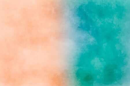Abstrakte moderne Malerei. Trockenbürsten bemaltes Papier , Leinwand , Wand . Strukturierter Hintergrund in Korallen- und Blautönen.