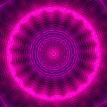 Neonkreishintergrund in magentafarbenen Tönen. Kaleidoskopisches Muster. Futuristische Mandalas.