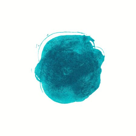 Abstract cyan watercolor background. Colorful aquarelle paint texture. Round brush stroke isolated on white . Vivid ink stain pattern. Paint splash. Standard-Bild