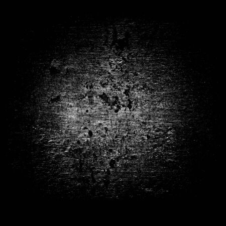 Abstract gray round dust stain on black background. Grunge texture with scratches, spots and dots Standard-Bild
