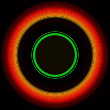 Colorful abstract bright circle , circular lines , radial striped texture in orange and green tones on black background. Round pattern Standard-Bild