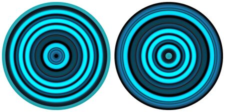 Set of 2 bright abstract colorful neon blue circles isolated on white background. Circular lines , radial striped texture. Round pattern.