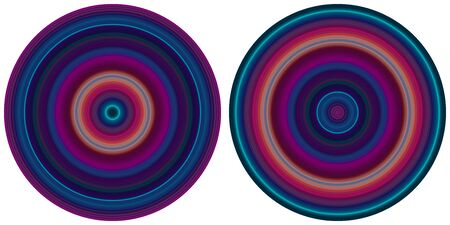 Set of 2 bright abstract  bright radial striped circles in purple and blue tones isolated on white background. Texture with circular lines. Vivid round pattern