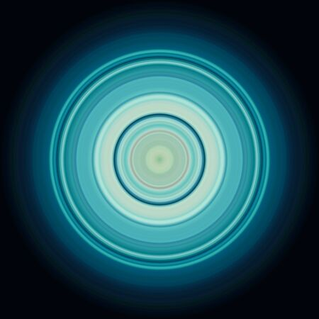 Colorful abstract bright circle , circular lines , radial striped texture in blue tones on black background. Round pattern