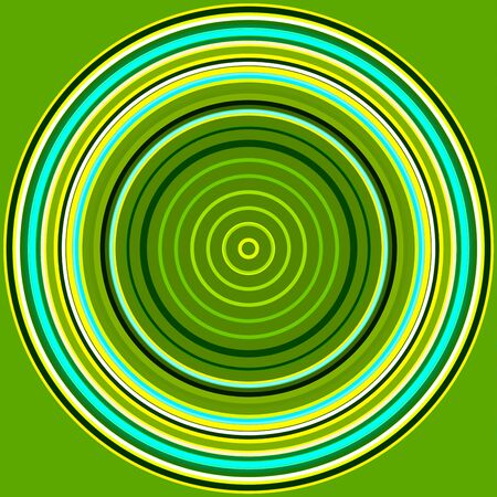 Colorful abstract bright circle background. Circular lines , radial striped texture in green and yellow tones . Round pattern
