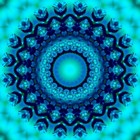 Floral kaleidoscopic pattern. Geometric ornament . Mandala . Abstract background in blue and green tones Stock fotó