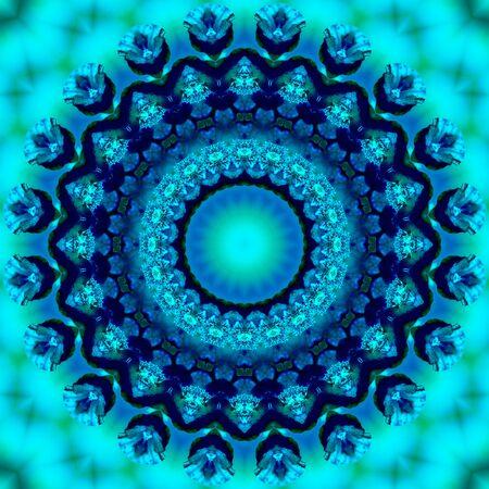 Patrón caleidoscópico floral. Adorno geométrico. Mandala. Fondo abstracto en tonos azules y verdes