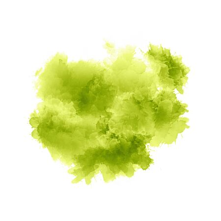 Artistic painting in shades of light green. Colorful paint splashes. Watercolor shape on white background. Modern abstract art.
