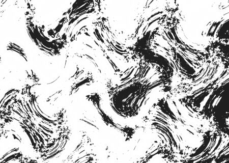 Abstract black paint splashes on white background. Artistic brush strokes. Monochrome grunge texture Standard-Bild