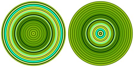 Set of 2 bright abstract colorful circles isolated on white background. Circular lines , radial striped texture in green and yellow tones. Round pattern Standard-Bild