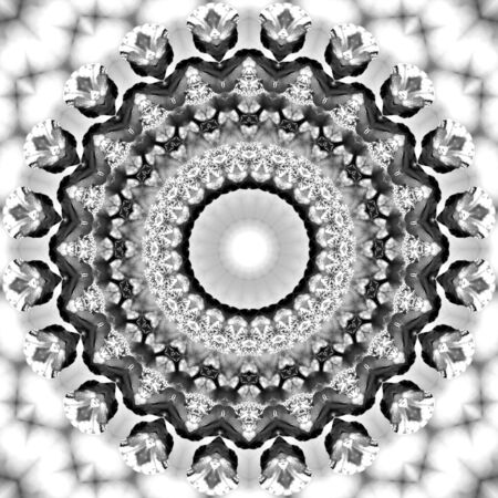 Floral kaleidoscopic pattern. Monochrome geometric ornament . Mandala . Abstract black and white background