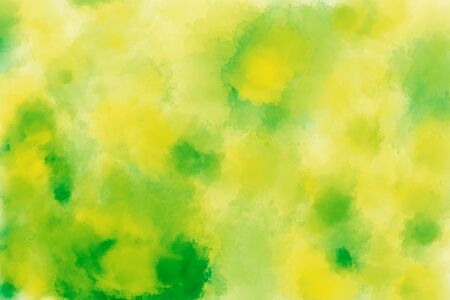 Modern watercolor drawing texture in shades of yellow and green. Colorful gradient paint splashes pattern. Mixed media backdrop Standard-Bild