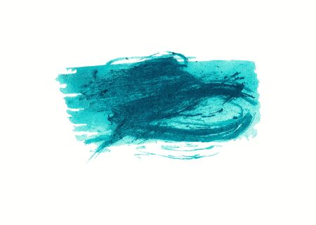 Brush stroke of paint in blue and cyan tones isolated on white background. Artistic textured shape. Hand painted watercolor illustration