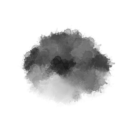 Modern painting in gray and black colors. Monochrome paint smears isolated on white background. Abstract watercolor pattern. Contemporary art
