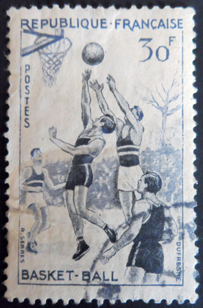 stamp collecting: Basketball Stamp France Editorial