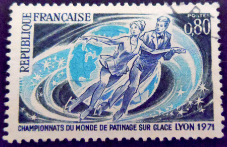stamp collecting: Ice Skating Stamp France