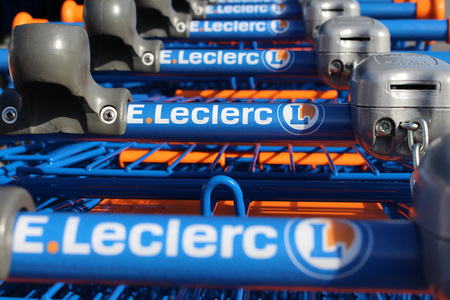 retail chain: FRANCE - September 27, 2015: Cart of the Leclerc brand. Leclerc is a broad retail chain in food predominance of French origin. Editorial
