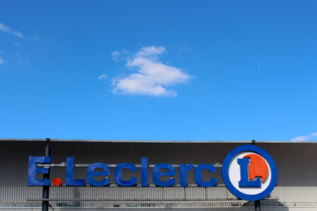 retail chain: FRANCE - September 27, 2015: Logo of Lelcerc brand. Leclerc is a broad retail chain in food predominance of French origin. Editorial
