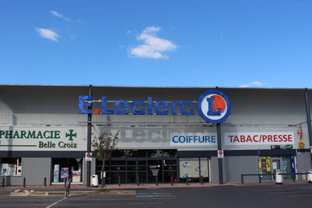 origin: FRANCE - September 27, 2015: Lelcerc store. Leclerc is a broad retail chain in food predominance of French origin