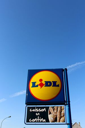 collaborator: FRANCE - September 5, 2015: Logo of the Lidl brand. Lidl is a hard-discount business.