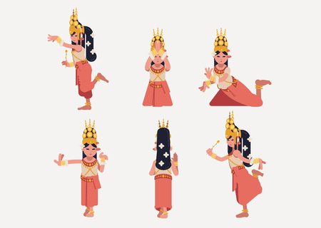 Khmer apsara dance moves vector illustration set