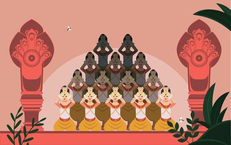 Chorégraphie de danse traditionnelle khmère Apsara au milieu de 2 statues de temple Naga. Un peuple cambodgien au design plat moderne et épuré.