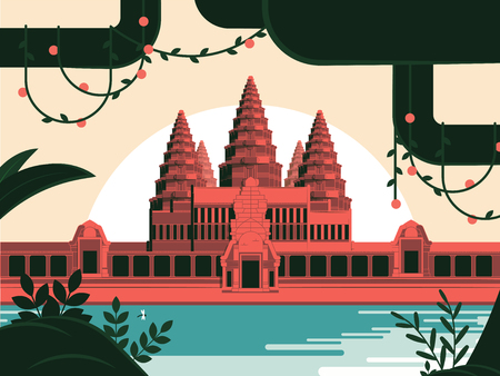 Angkor Wat Khmer temple in Siem Reap illustration