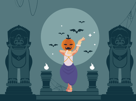 Traditional Khmer Apsara dancer in a Halloween theme set in full moon in Khmer lions statues in Cambodia.